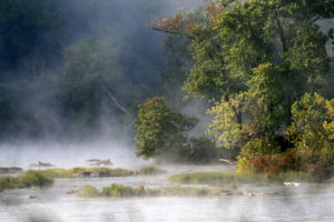 Mist rises from the potomac river