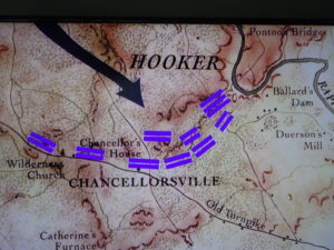 map depicting the battle of Chancellorsville